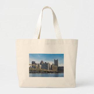Pittsburgh Skyline Large Tote Bag