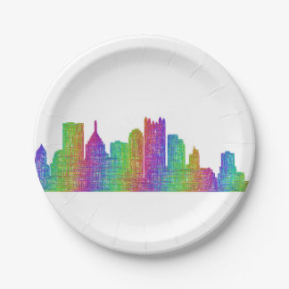 Pittsburgh skyline paper plate