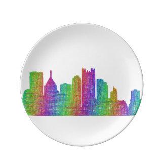 Pittsburgh skyline porcelain plates