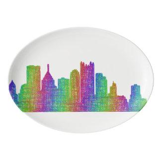 Pittsburgh skyline porcelain serving platter
