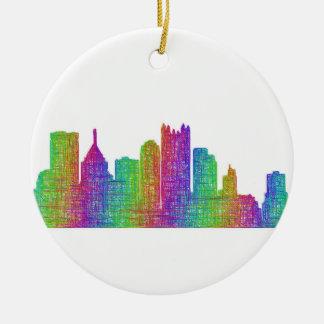 Pittsburgh skyline round ceramic ornament