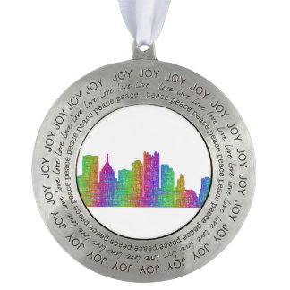 Pittsburgh skyline round pewter ornament