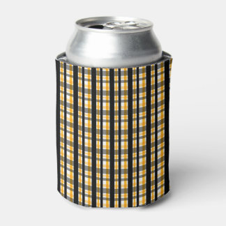 Pittsburgh Sports Fan Black Yellow Gold Plaid Can Cooler