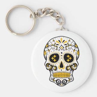 Pittsburgh Sugar Skull Basic Round Button Keychain