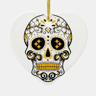Pittsburgh Sugar Skull Ceramic Heart Ornament