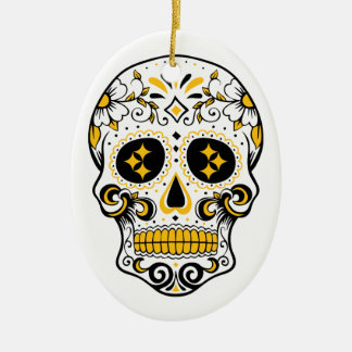 Pittsburgh Sugar Skull Ceramic Oval Ornament