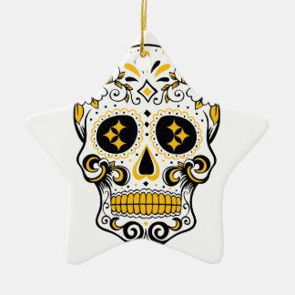 Pittsburgh Sugar Skull Ceramic Star Ornament