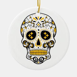 Pittsburgh Sugar Skull Round Ceramic Ornament