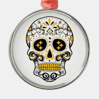 Pittsburgh Sugar Skull Silver-Colored Round Ornament