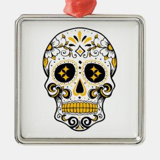 Pittsburgh Sugar Skull Silver-Colored Square Ornament