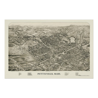 Pittsfield, MA Panoramic Map - 1899 Poster