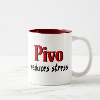 Pivo reduces stress Two-Tone coffee mug