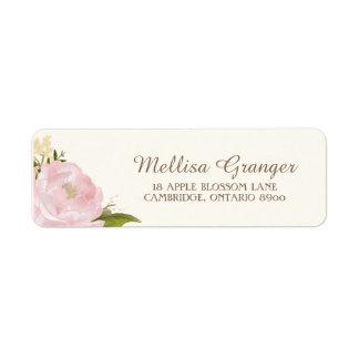 Pivoines roses vintages épousant l'étiquette de étiquettes d'adresse retour
