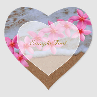 PixDezine beach+pink plumeria Heart Sticker