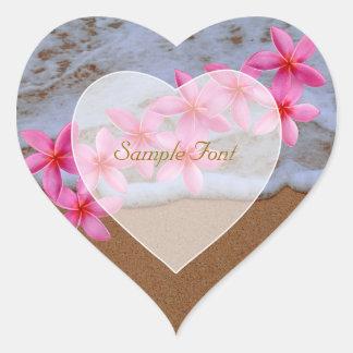 PixDezine beach+pink plumeria Heart Sticker