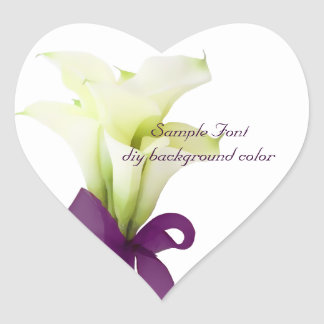PixDezine white calla lily/DIY background color Heart Sticker
