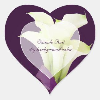 PixDezine white calla lily/DIY background color Heart Sticker