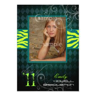 "PixDezines 2011 Graduation, Zebra Print 5"" X 7"" Invitation Card"