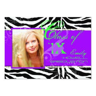 "PixDezines 2012 Grads, zebra print/diy colours 5"" X 7"" Invitation Card"