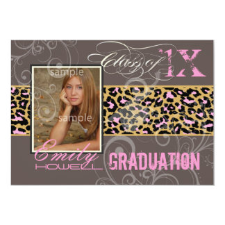 "PixDezines 2012 Graduation/cheetah, neon pink 5"" X 7"" Invitation Card"