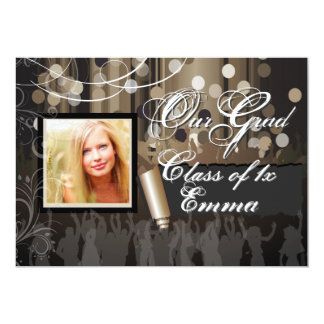 "PixDezines 2012 Graduation/Dance Hall/cigar 5"" X 7"" Invitation Card"