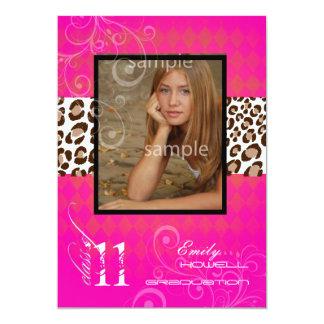 "PixDezines 2012 graduation/leopard/diy background 5"" X 7"" Invitation Card"