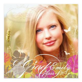 "PixDezines 2012 Graduation Photo+foliage 5.25"" Square Invitation Card"