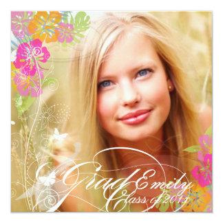 PixDezines 2012 Graduation Photo+hibiscus 5.25x5.25 Square Paper Invitation Card