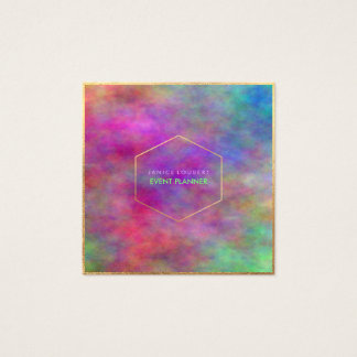 PixDezines Abstract Watercolor/Neon Square Business Card