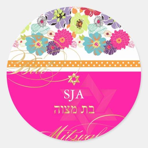PixDezines Alegre, retro floral/Bat Mitzvah Round Sticker