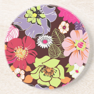 PixDezines Alegre Retro Floral, Custom Background Coaster