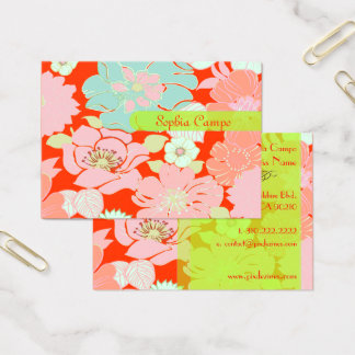 PixDezines Alegre Retro Floral, DIY background Business Card