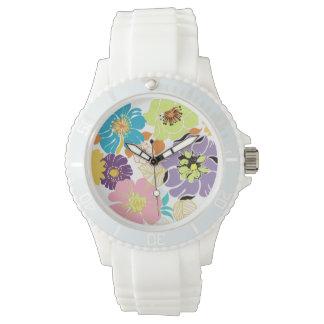 PixDezines alegre retro floral/diy background Wrist Watches