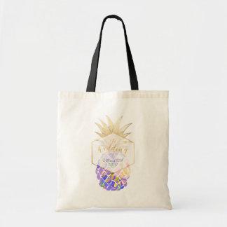 PixDezines Aloha Hawaiian Pineapple/Purple Tote Bag