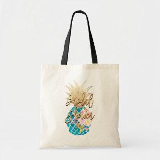 PixDezines Aloha Pineapple+Faux Gold+Aqua Tote Bag