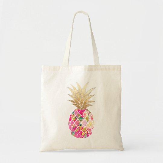 PixDezines Aloha Pineapple+Faux Gold Tote Bag