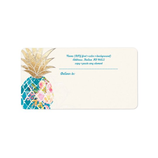PixDezines Aloha Pineapple+Floral Watercolor Label