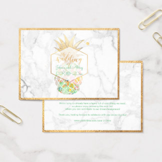 PixDezines Aloha Pineapples/Gold/Marble/Enclosure Business Card
