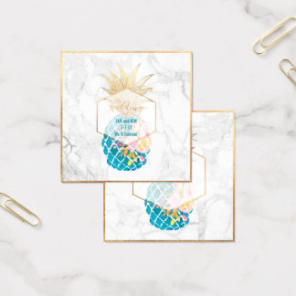 PixDezines Aloha Pineapples/Gold/Marble/Enclosure Square Business Card