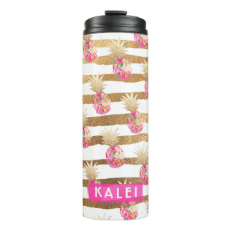 PixDezines Aloha Pineapples/Hot Pink+Faux GOld Thermal Tumbler