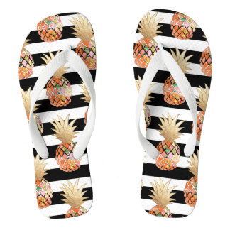 PixDezines Aloha Pineapples+Stripes Flip Flops