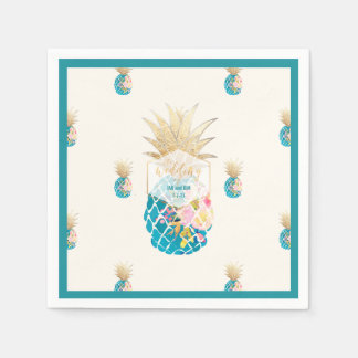 PixDezines Aloha Pineapples/Teal/DIY background Disposable Napkins