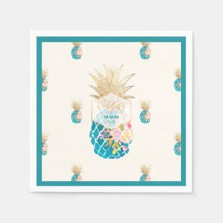 PixDezines Aloha Pineapples/Teal/DIY background Paper Napkin