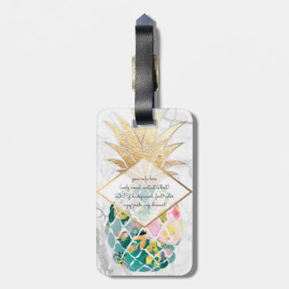 PixDezines Aloha Pineapples+White Marble Luggage Tag