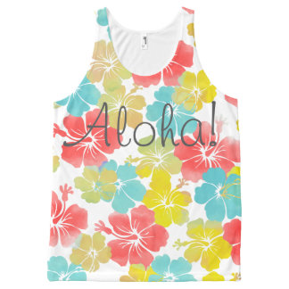PixDezines aloha retro/hibiscus/orange/yellow/aqua All-Over-Print Tank Top