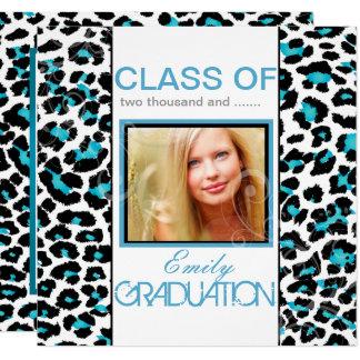 PixDezines Aqua Blue Leopard Print Graduation Card