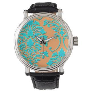 PixDezines aqua damask/diy background Wrist Watches
