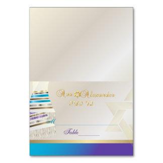 ✡ PixDezines Aqua/Purple Tallit B'nai Mitzvah Table Cards