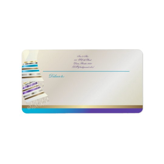 ✡ PixDezines Aqua/Purple Tallits Label