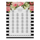 PixDezines b+w stripes+vintage roses/seating chart